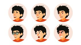 Junior Character Business People Avatar Vector. Developer Teen Man Face, Emotions Set. Creative Avatar Placeholder. Cartoon Illustration Royalty Free Stock Images