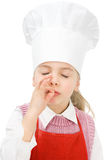 Junior chef making ok sign. A little cook with chef�s hat making the ok sign Royalty Free Stock Image