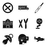 Junior classes icons set, simple style Royalty Free Stock Photo