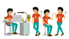 Junior Developer Character Vector. Young Coder In Modern Office Workplace. Developer. Programmer. Software. Environment. Junior Coder Character Vector. Working Stock Photos