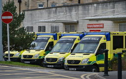 Junior Doctors Strike. BATH, UK - FEBRUARY 10, 2015: Ambulances wait on standby at the Royal United Hospital as junior doctors go on strike. Junior NHS doctors Stock Photo