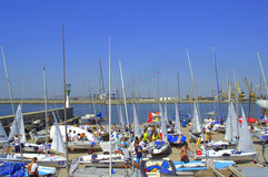 Junior European Championship sailboats preparation. Many yachts at dock in preparation for the next race of the 420&470 Junior European Championship,Yacht Port stock photos