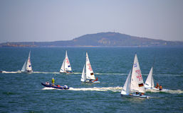 Junior European Championship sailing race Royalty Free Stock Images