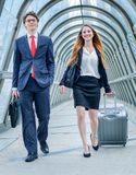 Junior executives dynamics in business trip Stock Images
