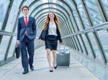 Junior executives dynamics in business trip Royalty Free Stock Photos