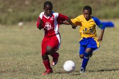 Junior Football Players Ball Stock Image