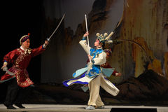 """Junior general Yang Zongbao- Beijing Opera"""" Women Generals of Yang Family"""". This opera tells a patriotic story how does an old woman of a hundred Stock Image"""