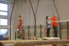 Junior gymnasts in training Stock Photos