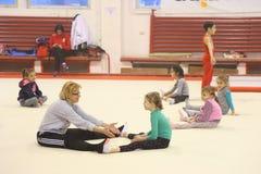 Junior gymnasts in training Stock Image