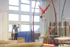 Junior gymnasts in training Stock Photos