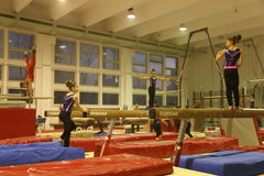 Junior gymnasts in training Stock Images