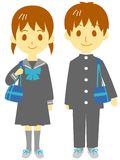 Junior high school students. Boy and girl, illustration Stock Photography