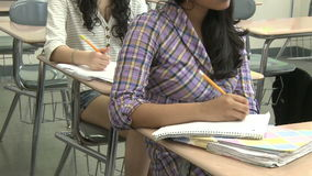 Junior hight students writing in class (6 of 6) stock footage