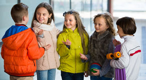 Junior kids chatting outdoor Stock Photography