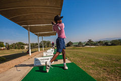 Junior Player Golf Practice Range Stock Image