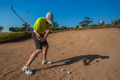 Junior Sand Golf Practice Swing Royalty Free Stock Photos