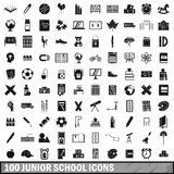100 junior school icons set, simple style. 100 junior school icons set in simple style for any design vector illustration Royalty Free Stock Photography