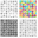 100 junior school icons set vector variant. 100 junior school icons set vector in 4 variant for any web design isolated on white Stock Photos