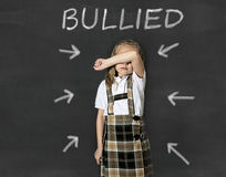 Junior schoolgirl crying victim of bullying suffering stress and fear at school Royalty Free Stock Photo
