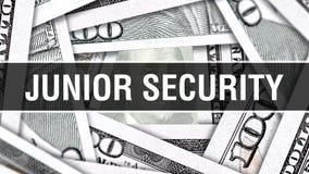 Junior Security Closeup Concept Dólares americanos de dinero del efectivo, representación 3D Junior Security en el billete de ban libre illustration