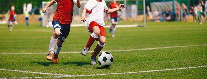 Junior Soccer Match. Football Game For Youth Players. Boys Playing Soccer Match on Football Pitch. Football Stadium and Grassy Field in the Background stock photos