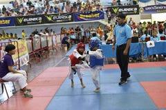 Junior Taekwondo-Wettbewerb Lizenzfreie Stockbilder
