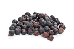 Juniper berries. A pile of juniper berries on a white background stock photography