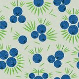 Juniper berries seamless pattern. Juniper berries with leaves on shabby background. Original simple flat illustration. Shabby style vector illustration