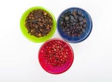 Juniper berry, pink pepper and cloves. Stock Photos