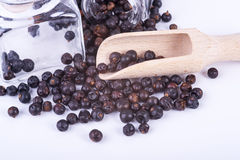 Juniper in measuring containers with a wooden scoop Stock Photos