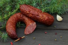 Juniper sausage. Traditionally, sausage kneaded with the aroma of juniper Stock Photo