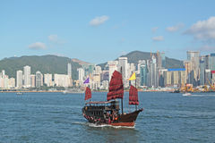 Junk boat in Hong Kong. At day royalty free stock images