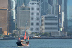 Junk boat in Hong Kong. At day royalty free stock photography
