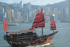 Junk boat in Hong Kong. At day stock photo