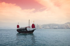 The junk boat on sunset Royalty Free Stock Photo