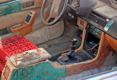 Junk car interior Royalty Free Stock Photography