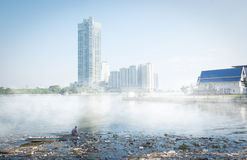 Junk in the Chao Phraya river with fog. Royalty Free Stock Photography