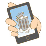 Junk e-mail on mobile phone Stock Images