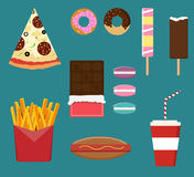 Junk fast food flat style set Royalty Free Stock Photo