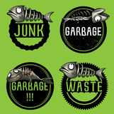 Junk fish restaurant leftovers design illustration. Set of junk fish restaurant leftovers design illustration Stock Images