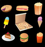 Junk food. Vector based illustration of various junk food Stock Photo