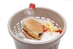 Junk food. Junk fast food hamburger and French Fries Stock Photography