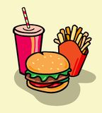 Junk Food. Hamburger, Frech fries and Soda in Vector format Stock Photos