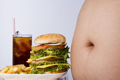 Junk food and big fat stomach Stock Photography