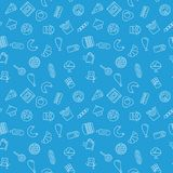 Junk food blue pattern. Vector seamless texture. Made with outline fast food icons Royalty Free Stock Photo