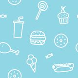 Junk food blue seamless pattern Royalty Free Stock Images