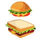 Junk Food burger and sandwich isolated, doodle style Stock Images