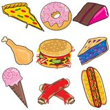 Junk Food Clipart elements and icons. Isolated on white Royalty Free Stock Image