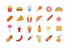 Junk food colorful icons set. Set of 24 Junk food colorful icons Royalty Free Stock Photo