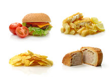 JUNK FOOD. Concept composite of junk food images, beautifully photographed :) Can be used separately with cropping tool. White background and copy space Royalty Free Stock Photo